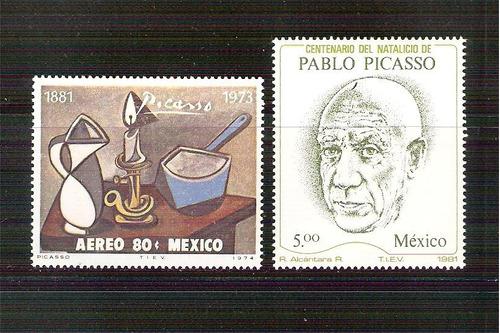 1974 mex picasso pintor 1981 centenario natalicio 2 sellos