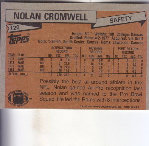 1981 topps all pro nolan cromwell s rams