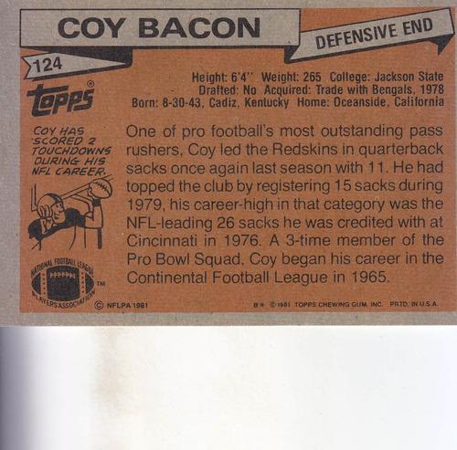 1981 topps coy bacon de redskins