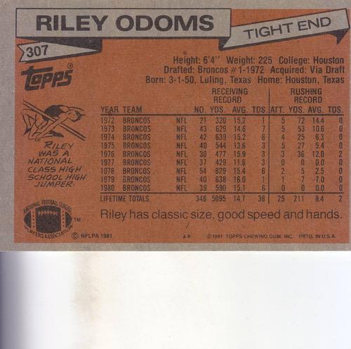 1981 topps riley odoms te broncos