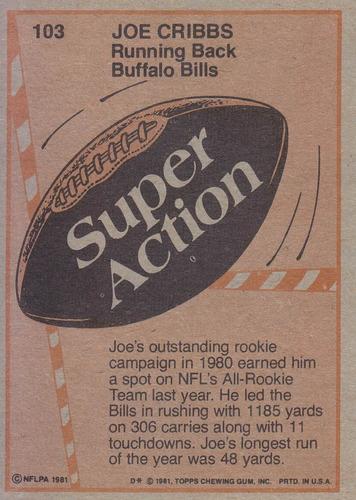 1981 topps super action joe cribbs rb bills