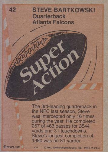 1981 topps super action steve bartkowski falcons