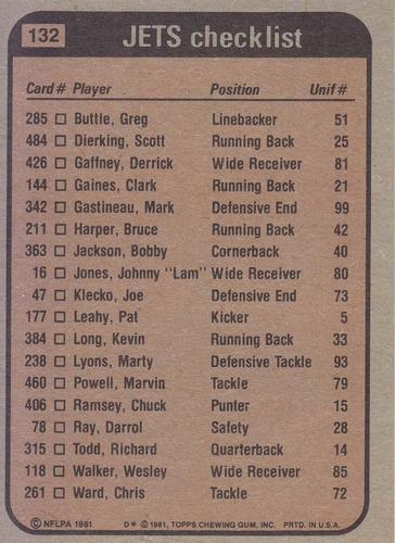 1981 topps team leaders jets harper gastineau schroy