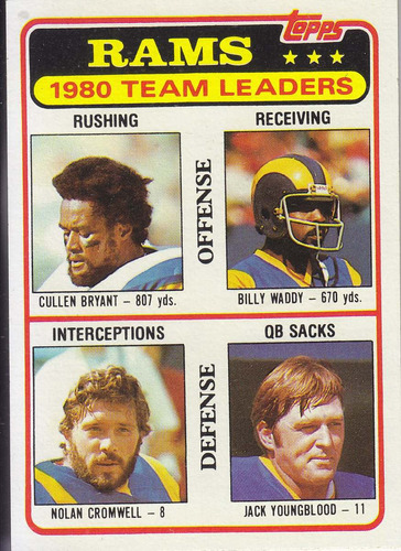 1981 topps team leaders rams bryant waddy youngblood