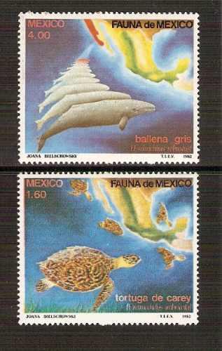 1982 fauna de méxico ballena gris y tortuga de carey 2/s mnh