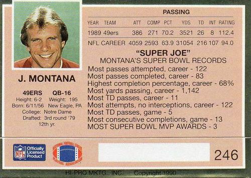 1990 action packed joe montana san francisco 49ers