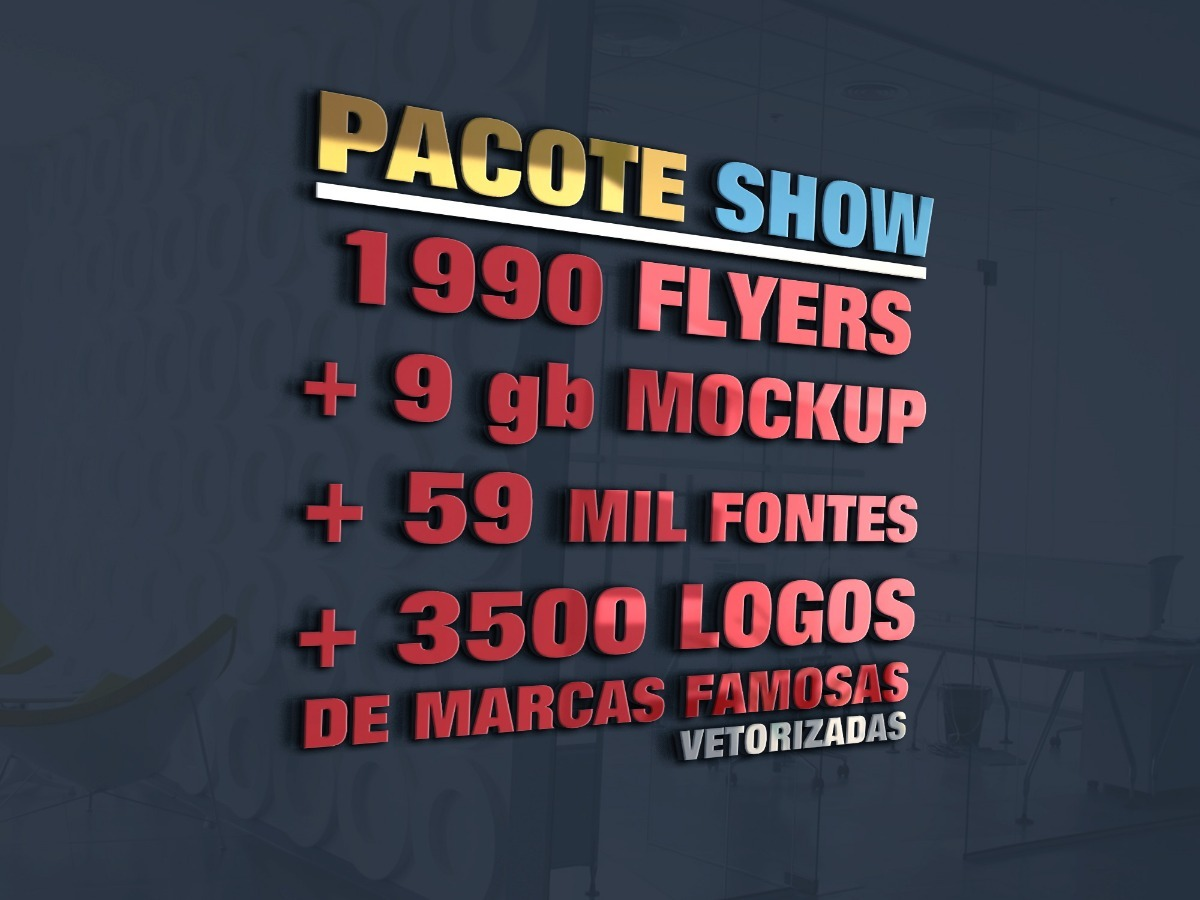 64afc271f 1990 Flyer + 3500 Marca Famosa + 9 Gb Mockup Pacote Show - R$ 24,97 em  Mercado Livre