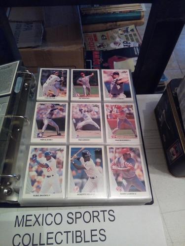 1990 leaf baseball completo 528 tarjetas+ micas y carpeta