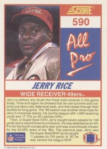 1990 score all pro jerry rice san francisco 49ers