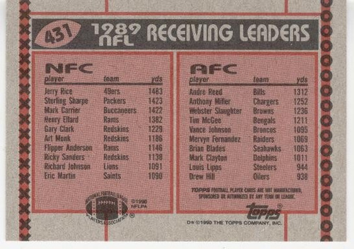 1990 topps receiving leaders jerry rice andre reed 49ers