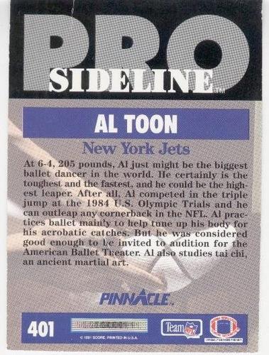 1991 pinnacle sideline al toon new york jets wr