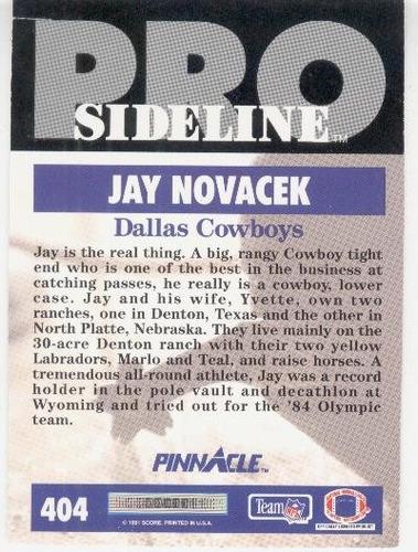 1991 pinnacle sideline jay novacek dallas cowboys