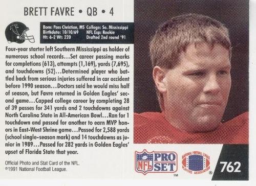 1991 pro set brett favre rookie falcons packers vikings jets