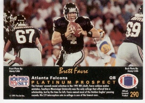 1991 pro set platinum brett favre rookie atlanta falcons