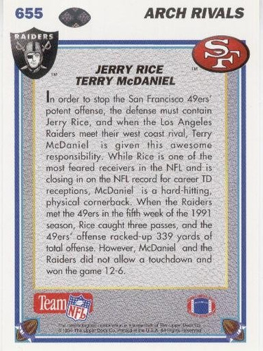 1991 upper deck arch rivals jerry rice terry mcdaniel