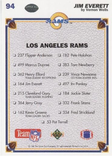 1991 upper deck by artist jim everett los angeles rams qb