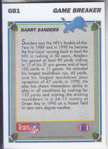 1991 upper deck gamebreakers hologram barry sanders rb lions