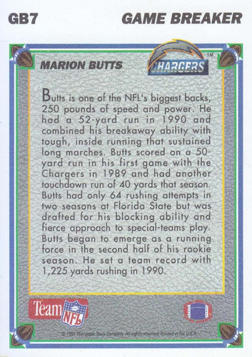 1991 upper deck hologram game breakers marion butts rb charg