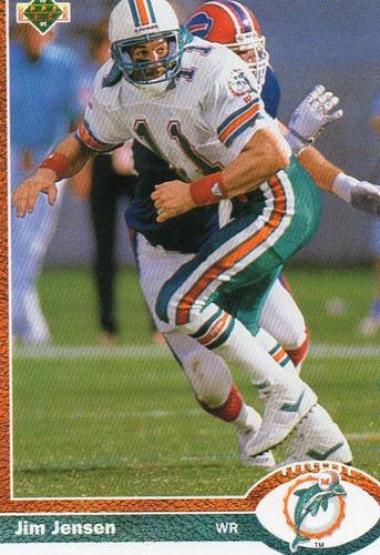 1991 upper deck jim jensen miami dolphins wr