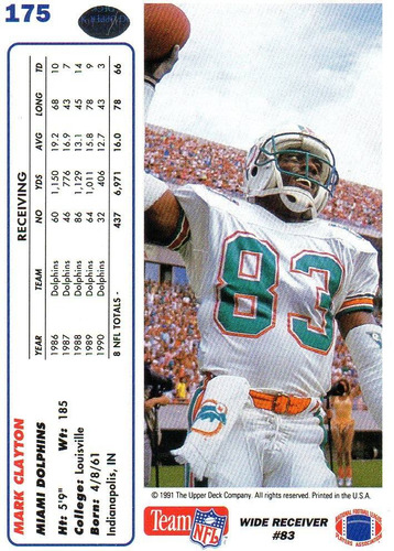 1991 upper deck mark clayton miami dolphins wr