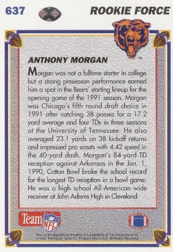 1991 upper deck rookie force anthony morgan chicago bears wr