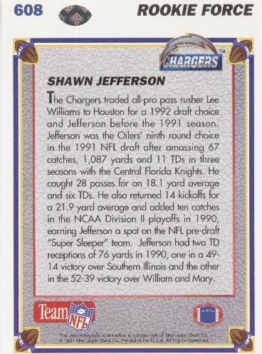 1991 upper deck rookie force shawn jefferson chargers wr