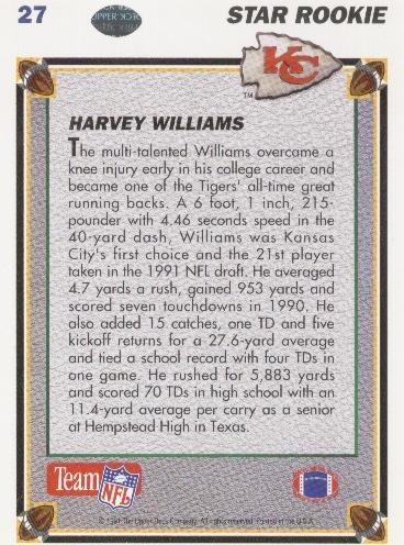 1991 upper deck star rookie harvey williams chiefs rb