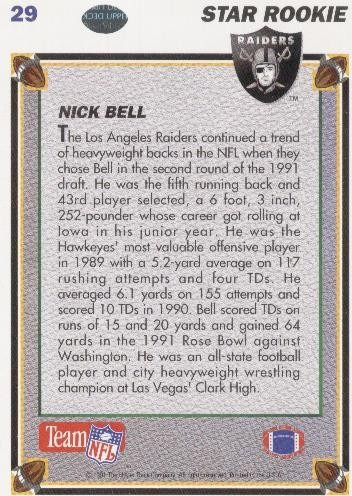 1991 upper deck star rookie nick bell los angeles raiders