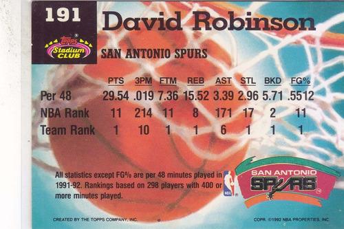 1992-93 stadium club members only david robinson spurs