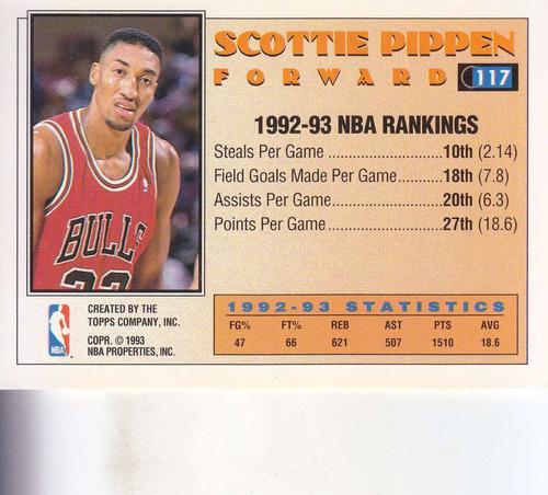 1992-93 topps all star scottie pippen bulls