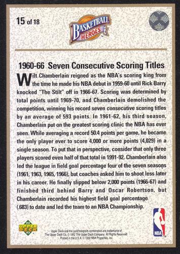 1992-93 upper deck heroes scoring wilt chamberlain phila