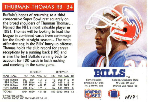 1992 pro set gold mvps thurman thomas bills rb