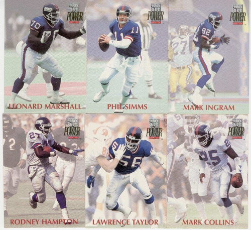 1992 pro set power lote new york giants