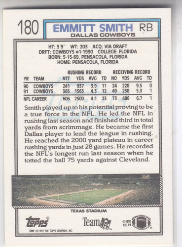 1992 topps emmitt smith rb cowboys