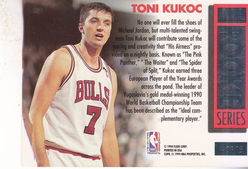 1993-94 fleer ultra all rookie toni kukoc bulls