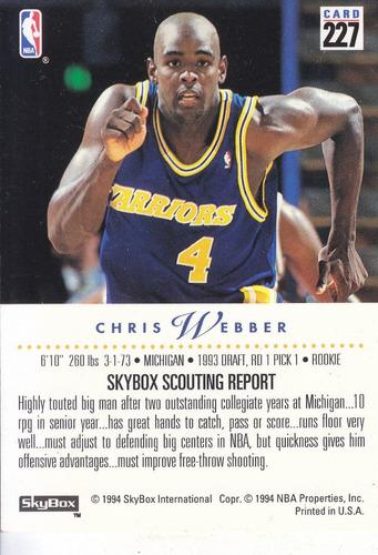 1993-94 skybox premium rookie chris webber warriors