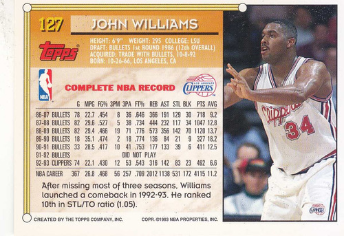 1993-94 topps gold john williams clippers