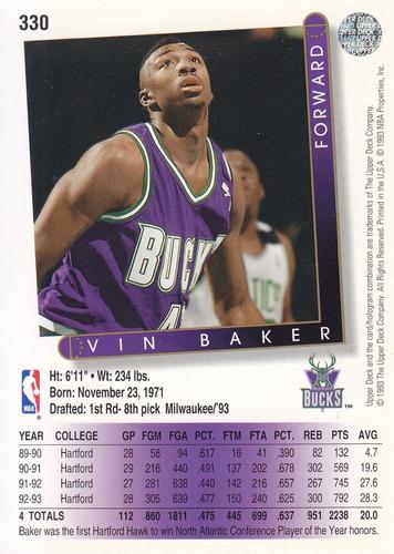 1993-94 upper deck rookie vin baker bucks