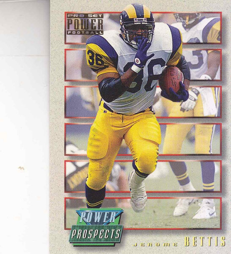 1993 pro set power gold prospects jerome bettis rb rams