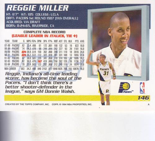 1994-95 topps reggie miller pacers