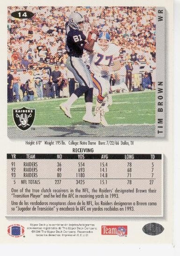 1994 collector's choice tim brown oakland raiders
