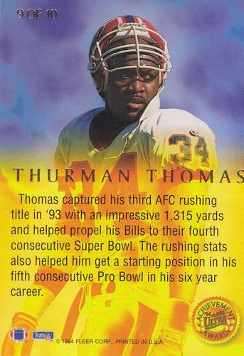 1994 fleer ultra achievement award thurman thomas rb bills