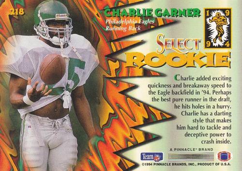 1994 select rookie charlie garner rb eagles