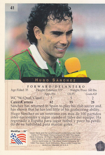 1994 upper deck world cup hugo sanchez mexico