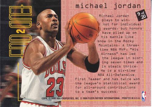 1995-96 fleer end to end michael jordan bulls