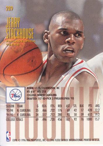 1995-96 fleer ultra rookie jerry stackhouse sixers