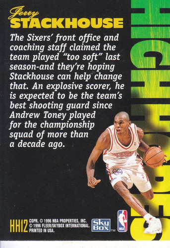 1995-96 skybox high hopes jerry stackhouse sixers