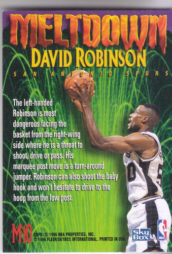 1995-96 skybox premium meltdown david robinson spurs