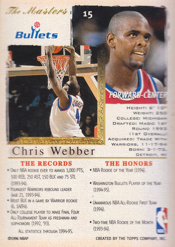 1995-96 topps gallery the masters chris webber wash wizards