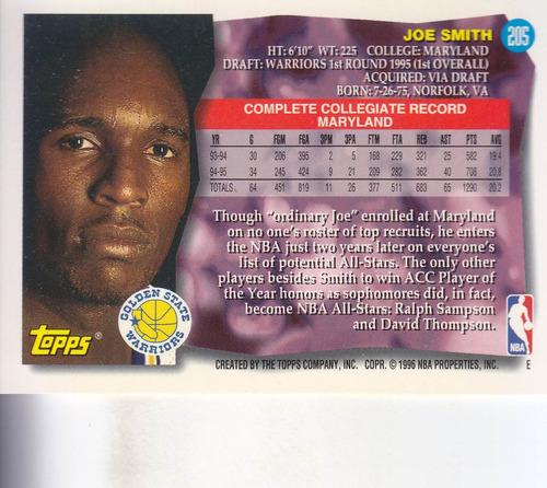 1995-96 topps rookie joe smith warriors